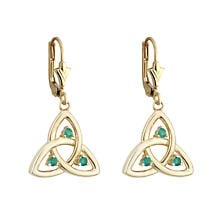 Celtic Earrings - 10k Gold Emerald Trinity Drop Earrings