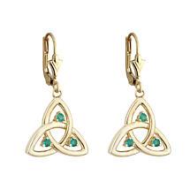 Celtic Earrings - 10k Gold Emerald Trinity Drop Earrings