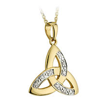 Celtic Pendant - 14k Yellow Gold and Diamond Trinity Knot Pendant with Chain