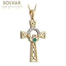 Celtic Pendant - 14k Gold with Diamond and Emerald Claddagh Cross Pendant with Chain