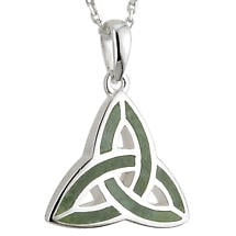 Celtic Pendant - Sterling Silver and Connemara Marble Trinity Knot Pendant with Chain
