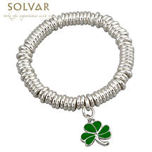St Patricks Jewelry - Shamrock Silver Tone Irish Bracelet