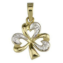 Irish Necklace - 14k Yellow Gold and Diamond Shamrock Pendant with Chain
