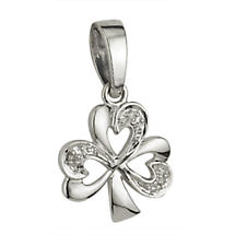Irish Necklace - 14k White Gold and .015ct Diamonds Shamrock Pendant with Chain