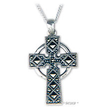 Celtic Pendant - Sterling Silver Marcasite Celtic Cross Pendant with Chain