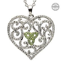 Irish Necklace Trinity Knot Heart Pendant with Green Swarovski Crystals Sterling Silver