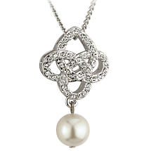 Irish Necklace - Celtic Knot Pendant with Pearl & Crystals Rhodium Plated