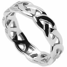 Irish Wedding Ring - Celtic Trinity Interlace Knot Mens Wedding Band