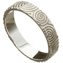 Irish Wedding Ring - Celtic Spirals Newgrange Mens Wedding Band