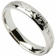 Irish Wedding Ring - Celtic Knot Claddagh Mens Wedding Band