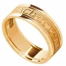 Irish Ring - Men's 14k Yellow Gold - Gra Dilseacht Cairdeas 'Love, Loyalty, Friendship' Symbols Irish Wedding Ring