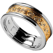 Celtic Ring - Men's Yellow Gold with White Gold Trim Celtic Spirals Wedding Ring