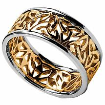Trinity Knot Ring - Ladies Yellow Gold with White Gold Trim Trinity Filigree Irish Wedding Ring
