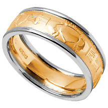 Claddagh Ring - Men's Yellow Gold with White Gold Trim Claddagh Court Wedding Band