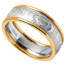 Claddagh Ring - Men's White Gold with Yellow Gold Trim Claddagh Court Wedding Band