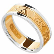 Irish Ring - Men's Yellow Gold with White Gold Trim - Gra Go Deo 'Love Forever' Irish Wedding Ring