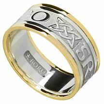 Irish Ring - Men's White Gold with Yellow Gold Trim - Gra Go Deo 'Love Forever' Irish Wedding Ring