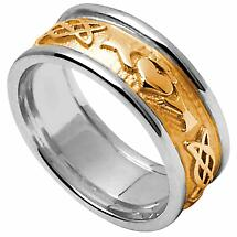 Claddagh Ring - Men's Yellow Gold with White Gold Trim Claddagh Celtic Knot Wedding Ring