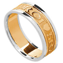 Irish Ring - Men's Yellow Gold with White Gold Trim Gra Geal Mo Chroi 'Love of my heart' Irish Wedding Ring