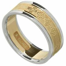 Celtic Ring - Ladies Yellow Gold with White Gold Trim Celtic Cross Wedding Ring