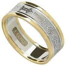 Celtic Ring - Ladies White Gold with Yellow Gold Trim Celtic Cross Wedding Ring