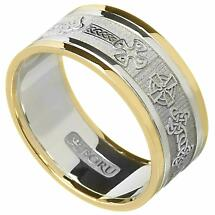 Celtic Ring - Men's White Gold with Yellow Gold Trim Celtic Cross Wedding Ring
