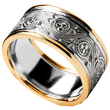 Irish Ring - Men's White Gold with Yellow Gold Trim Triskele Weave Irish Wedding Ring