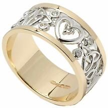 Trinity Knot Ring - Ladies 14k White Gold with Yellow Gold Trim Diamond Heart and Trinity Knot Wedding Band