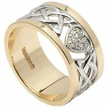 Celtic Ring - Ladies 14k White Gold with Yellow Gold Trim Diamond Encrusted Heart Wedding Band