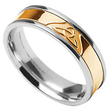 Trinity Knot Ring - Men's Sterling Silver with 10k Yellow Gold Trinity Knot Irish Wedding Band
