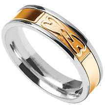 Celtic Ring - Ladies Sterling Silver with 10k Yellow Gold Interlocking Hearts Irish Wedding Band