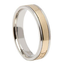 Celtic Ring - Men's Sterling Silver with 10k Yellow Gold Celtic Warrior Shield Irish Wedding Band