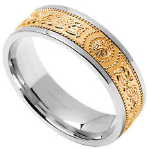 Celtic Ring - Men's Sterling Silver with 10k Yellow Gold Wide Celtic Warrior Shield Irish Wedding Band