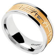 Irish Ring - Mens White Gold with Yellow Gold Ogham Mo Anam Cara 'My Soul Mate' Irish Wedding Band
