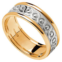 Celtic Ring - Ladies White Gold with Yellow Gold Trim Celtic Wedding Band
