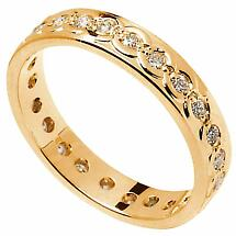Celtic Ring - Ladies Gold with Diamond Set Celtic Wedding Ring