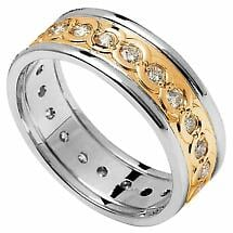 Celtic Ring - Men's Yellow Gold with White Gold Trim and Diamond Set Celtic Wedding Ring