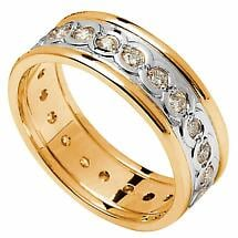 Celtic Ring - Men's White Gold with Yellow Gold Trim and Diamond Set Celtic Wedding Ring