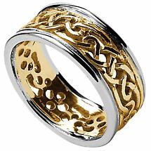 Celtic Ring - Ladies Yellow Gold with White Gold Trim Filigree Celtic Wedding Band