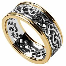 Celtic Ring - Ladies White Gold with Yellow Gold Trim Filigree Celtic Wedding Band